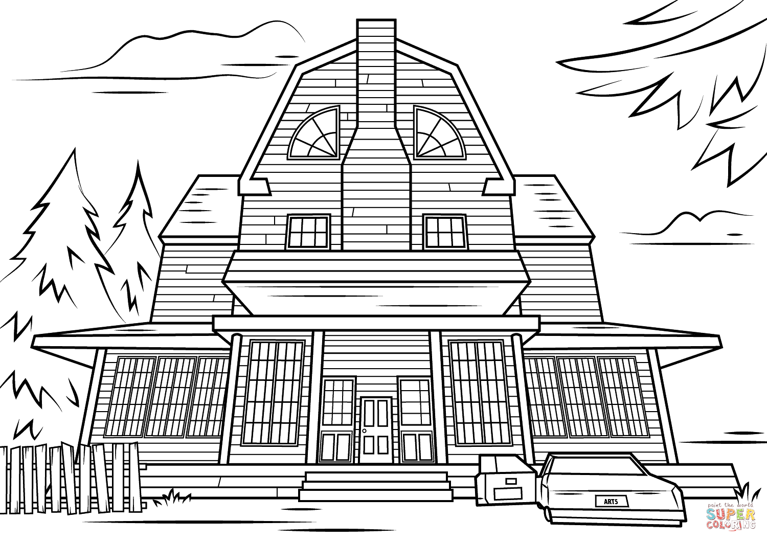 Scary Haunted House Coloring Page