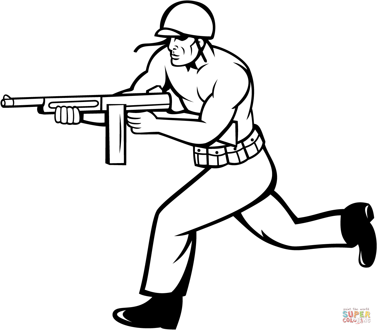 Soldier Running With Tommy Gun Coloring Page Free Printable
