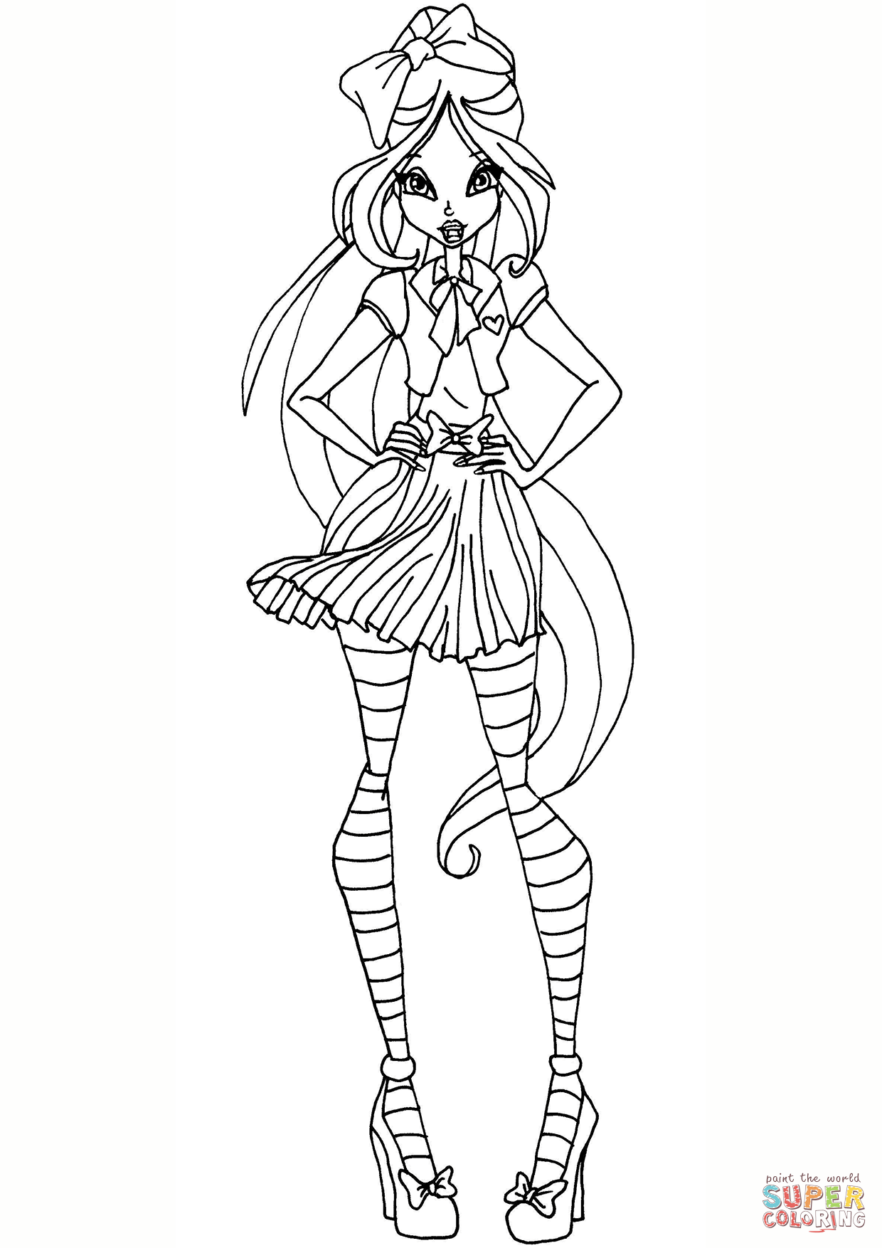 Winx Club Flora School Coloring Page Free Printable Coloring Pages