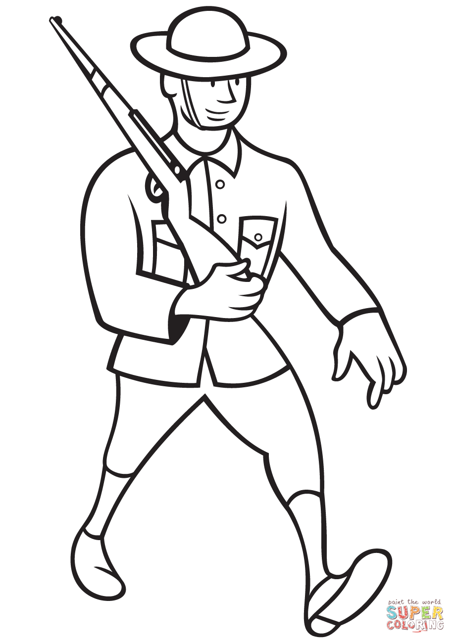 WW1 British Soldier Marching with Rifle coloring page