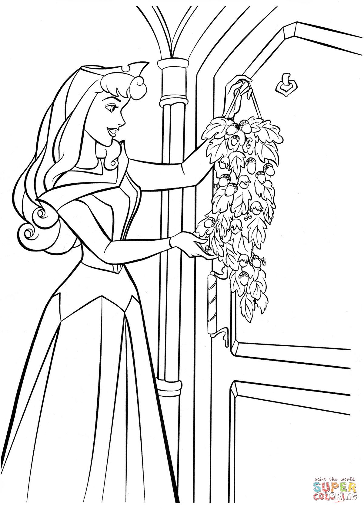 Aurora laittaa oveensa juhlakoristelun värityskuva