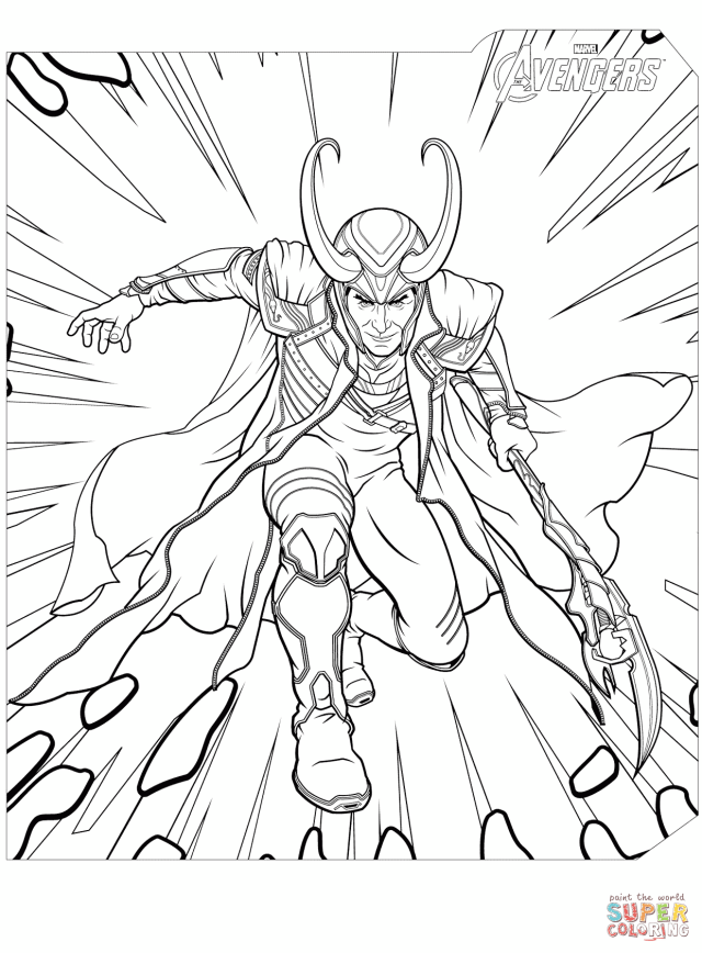 Avengers Loki coloring page  Free Printable Coloring Pages