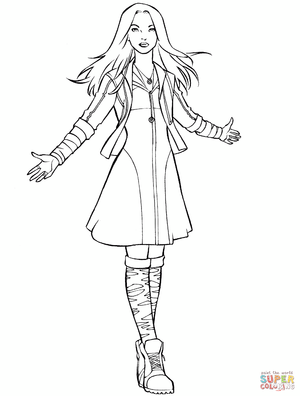 Avengers Scarlet Witch Coloring Page