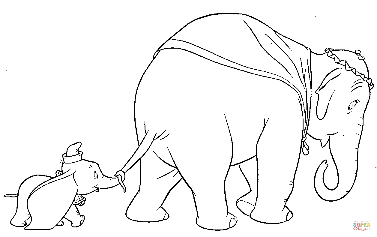 Dumbo Walks With His Mother Coloring Page