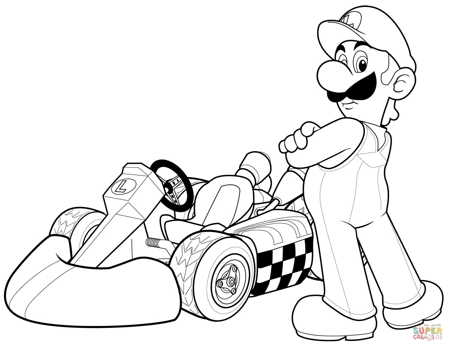 Mario In Mario Kart Wii Coloring Page Free Printable Coloring Pages