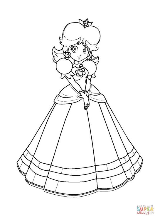 Dibujo de Mario Bros. Princesa Daisy para colorear