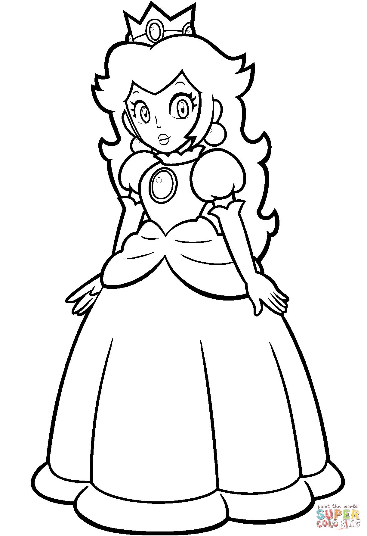 Mario Princess Peach Coloring Page