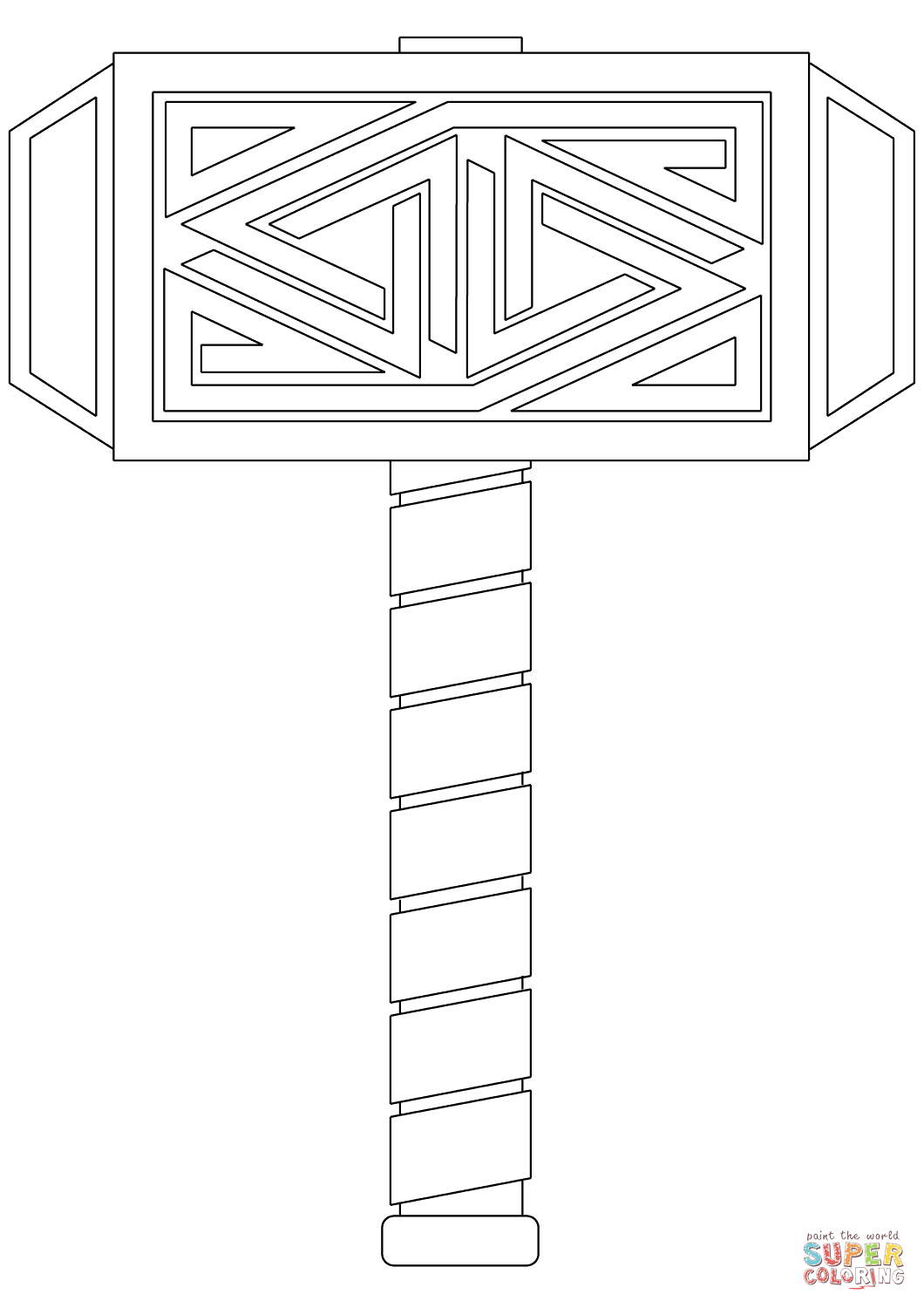 Mjölnir The Hammer Of Thor Coloring Page Free Printable