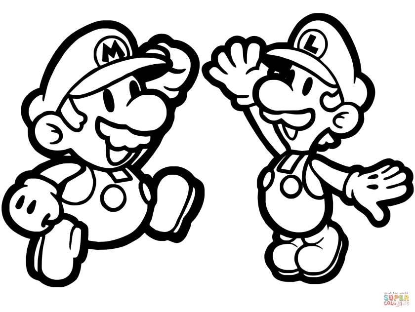 paper mario and luigi coloring page  free printable