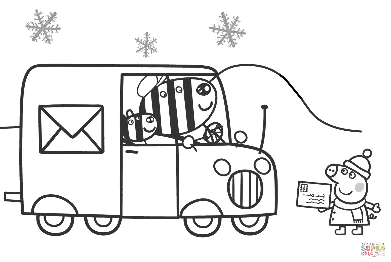 Peppa Waits for Zuzu and Zaza to Send a Xmas Card coloring