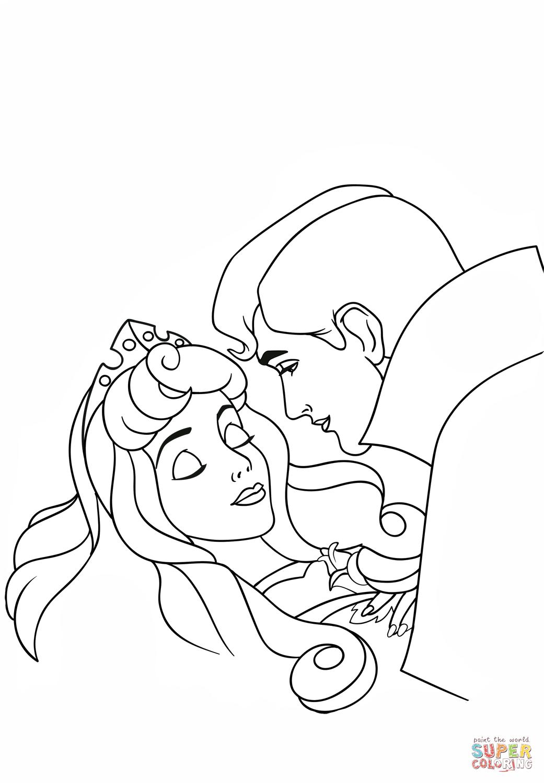 Phillip Kisses Aurora Coloring Page Free Printable