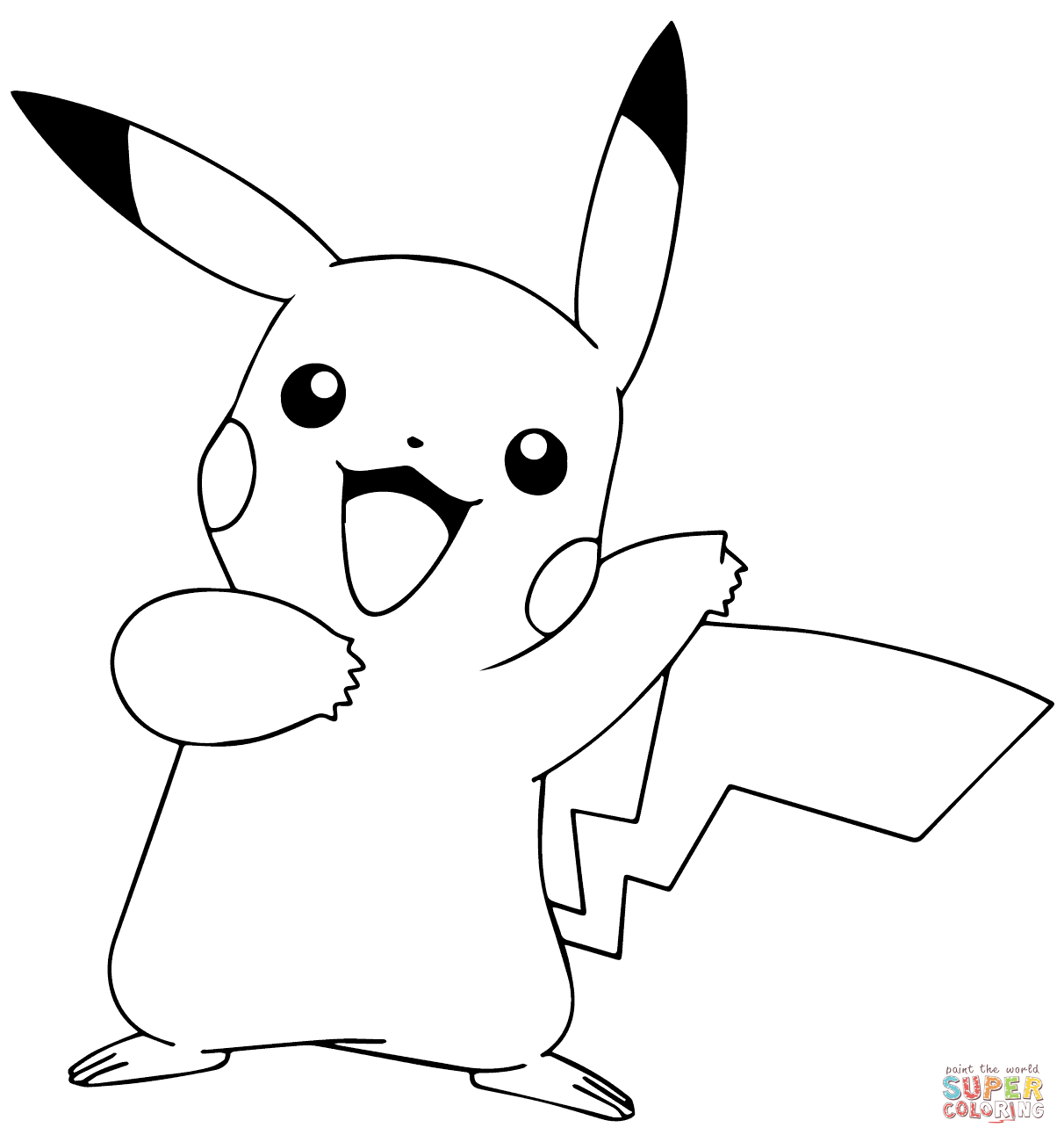 Pikachu from Pokémon GO coloring page Free Printable