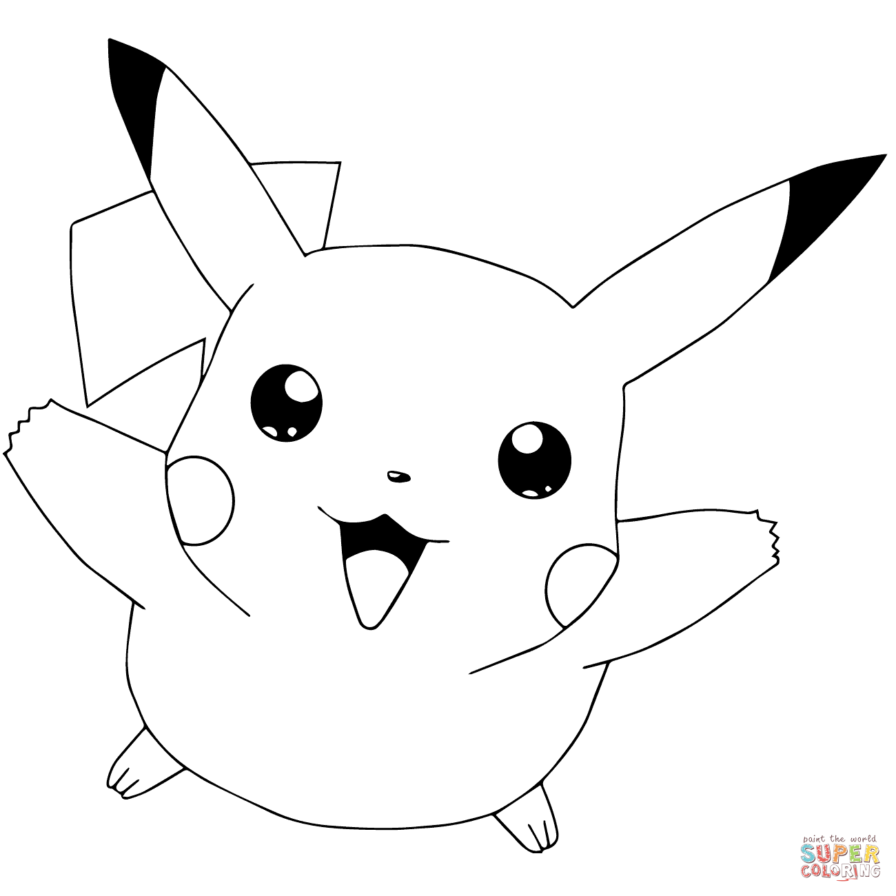 Pokémon Go Pikachu Flying Coloring Page Free Printable Coloring
