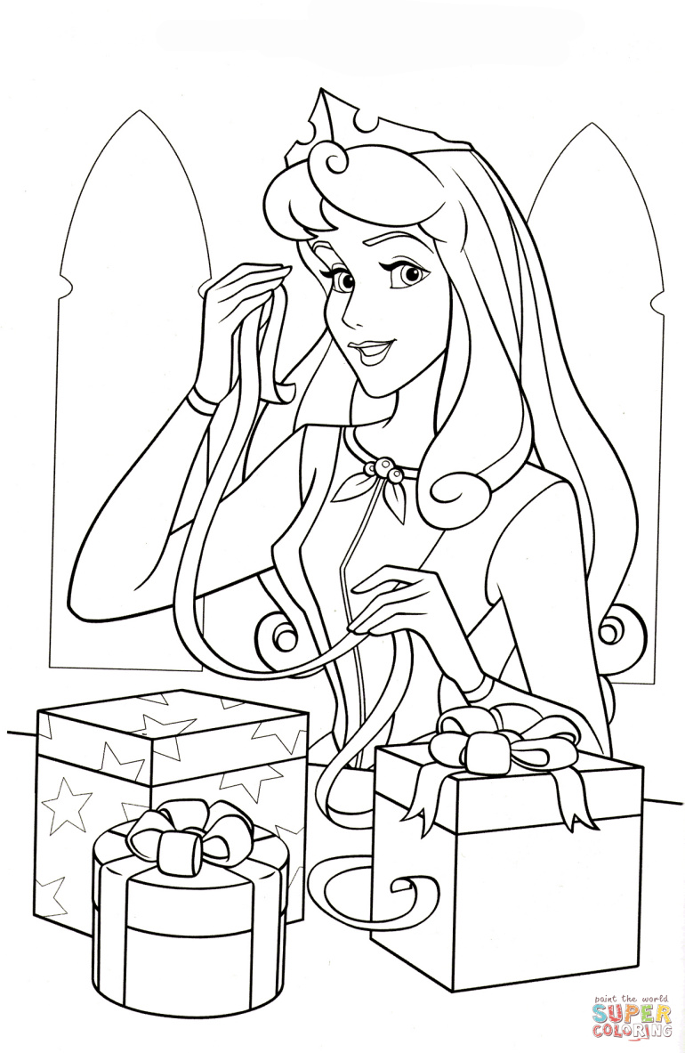 Princess Aurora Loves Christmas coloring page | Free ... | free printable disney princess christmas coloring pages