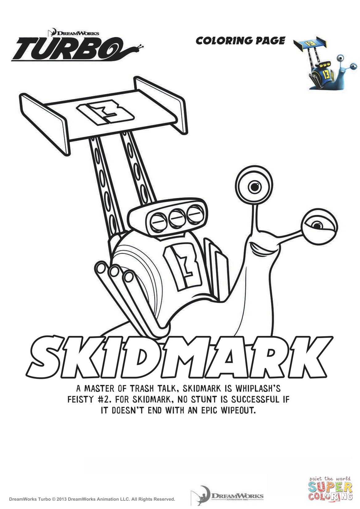 Skidmark From Turbo Coloring Page