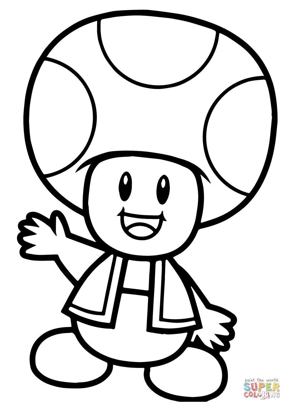 Super Mario Bros Toad Coloring Page Free Printable