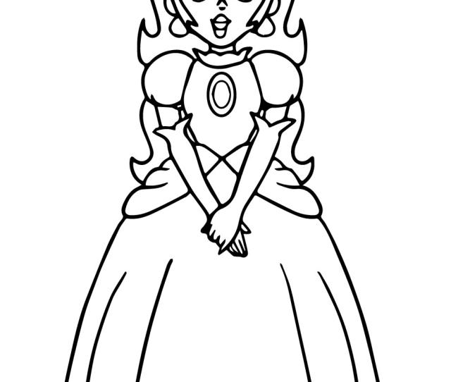 Super Mario Princess Peach Coloring Page Free Printable Coloring