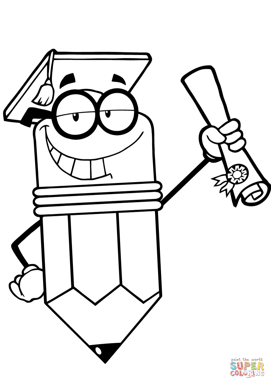 Happy Pencil Character Graduate with Diploma coloring page