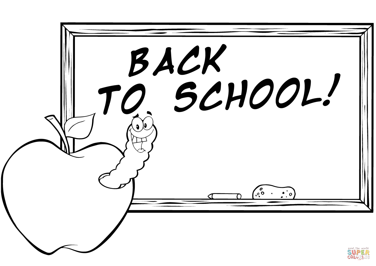 Happy Worm In Apple In Front Of School Chalk Board Coloring Page