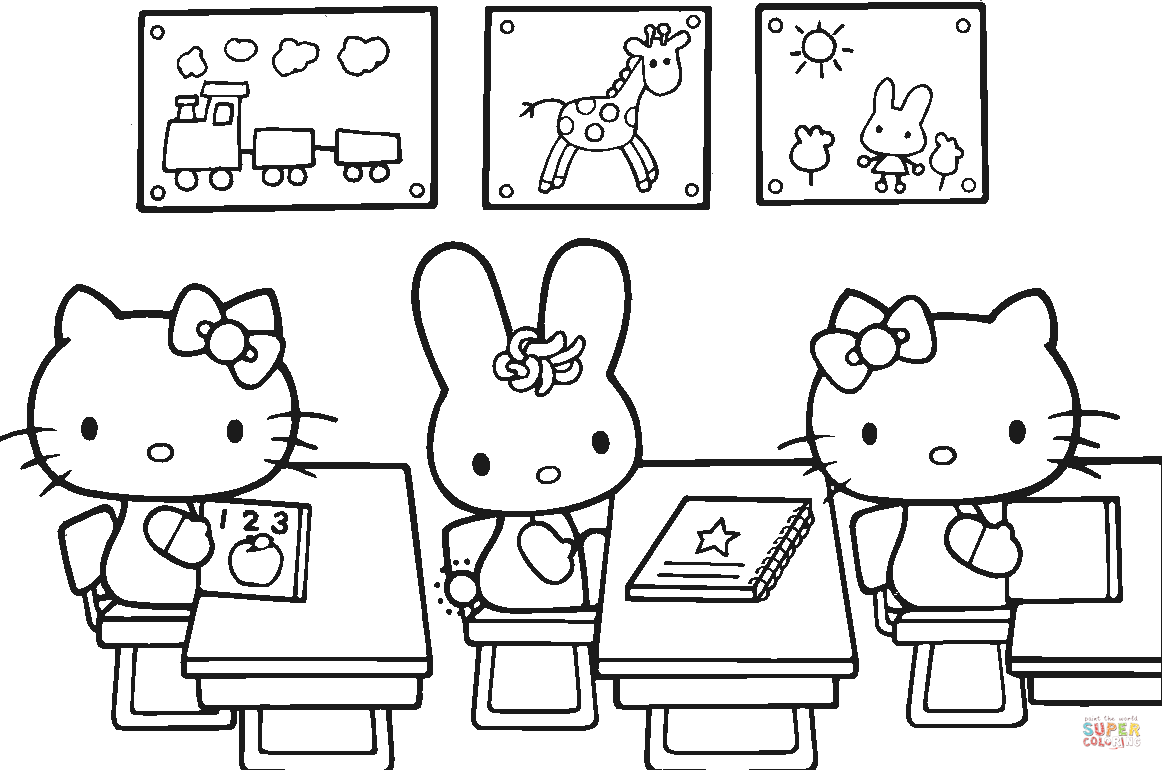 Hello Kitty Back To School Coloring Page