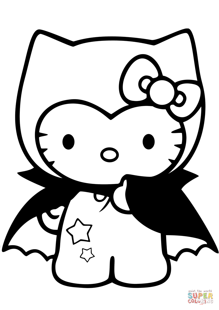 Hello Kitty Dracula Coloring Page Free Printable