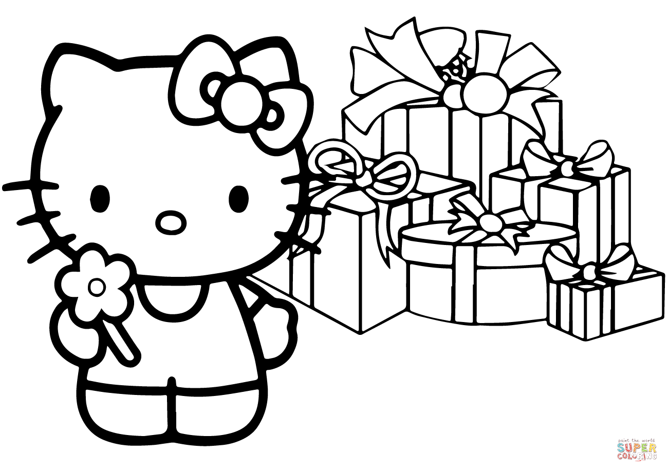 Hello Kitty Happy Christmas Coloring Page Free Printable