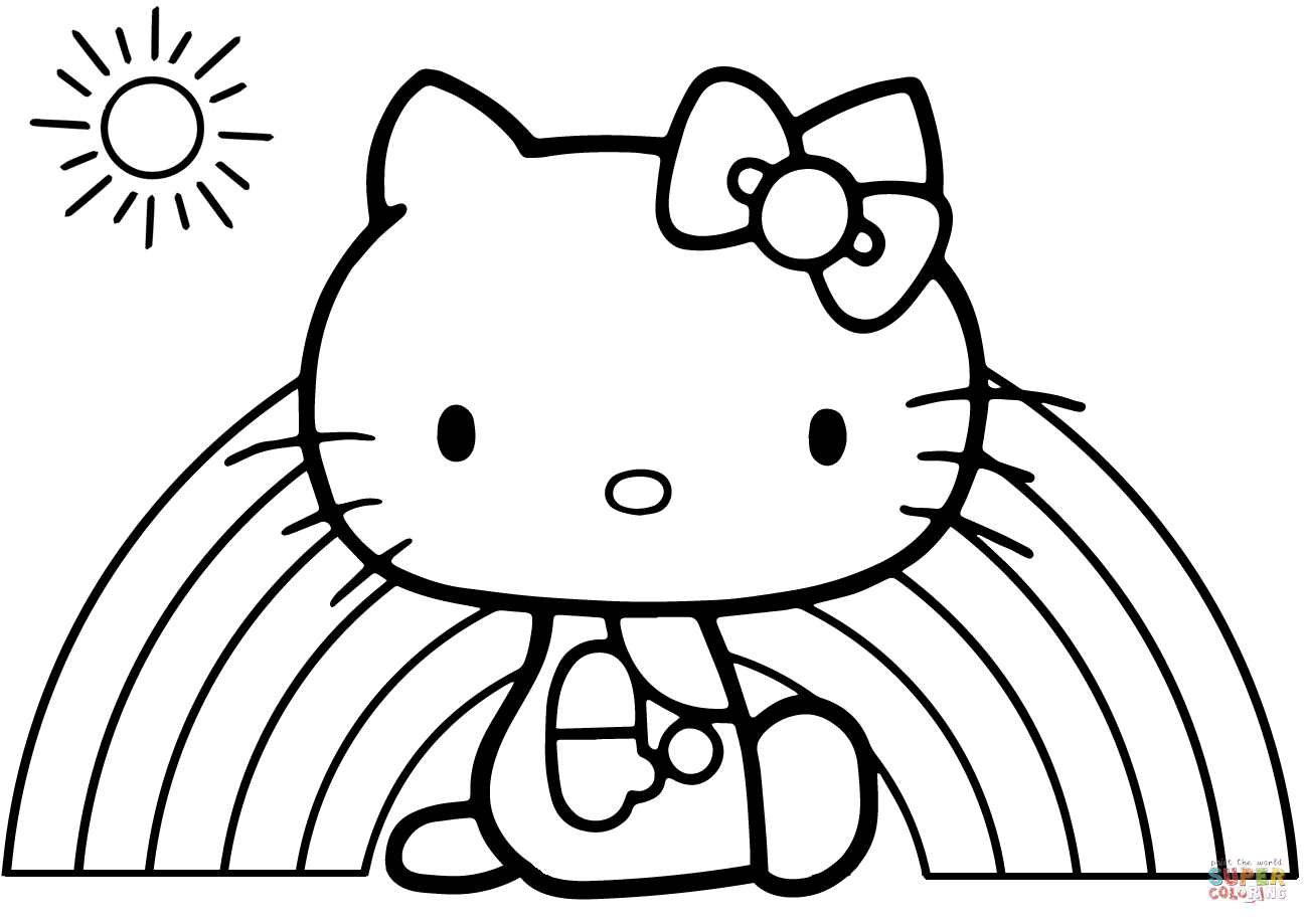 Hello Kitty Rainbow Coloring Page