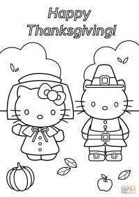 Hello Kitty Thanksgiving coloring page | Free Printable ...