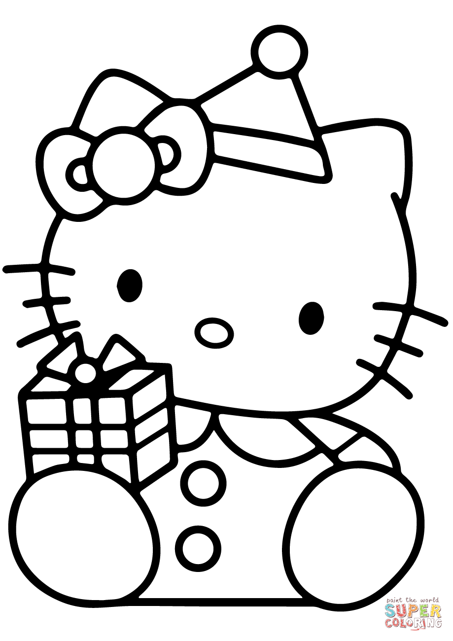 Hello Kitty With Christmas Gift Box Coloring Page Free Printable