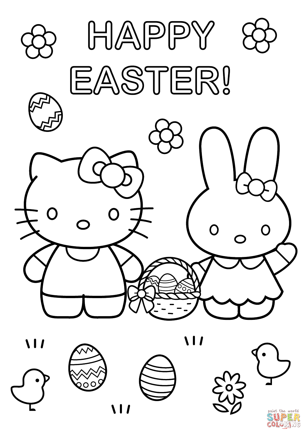 Hello Kitty With Easter Bunny Coloring Page