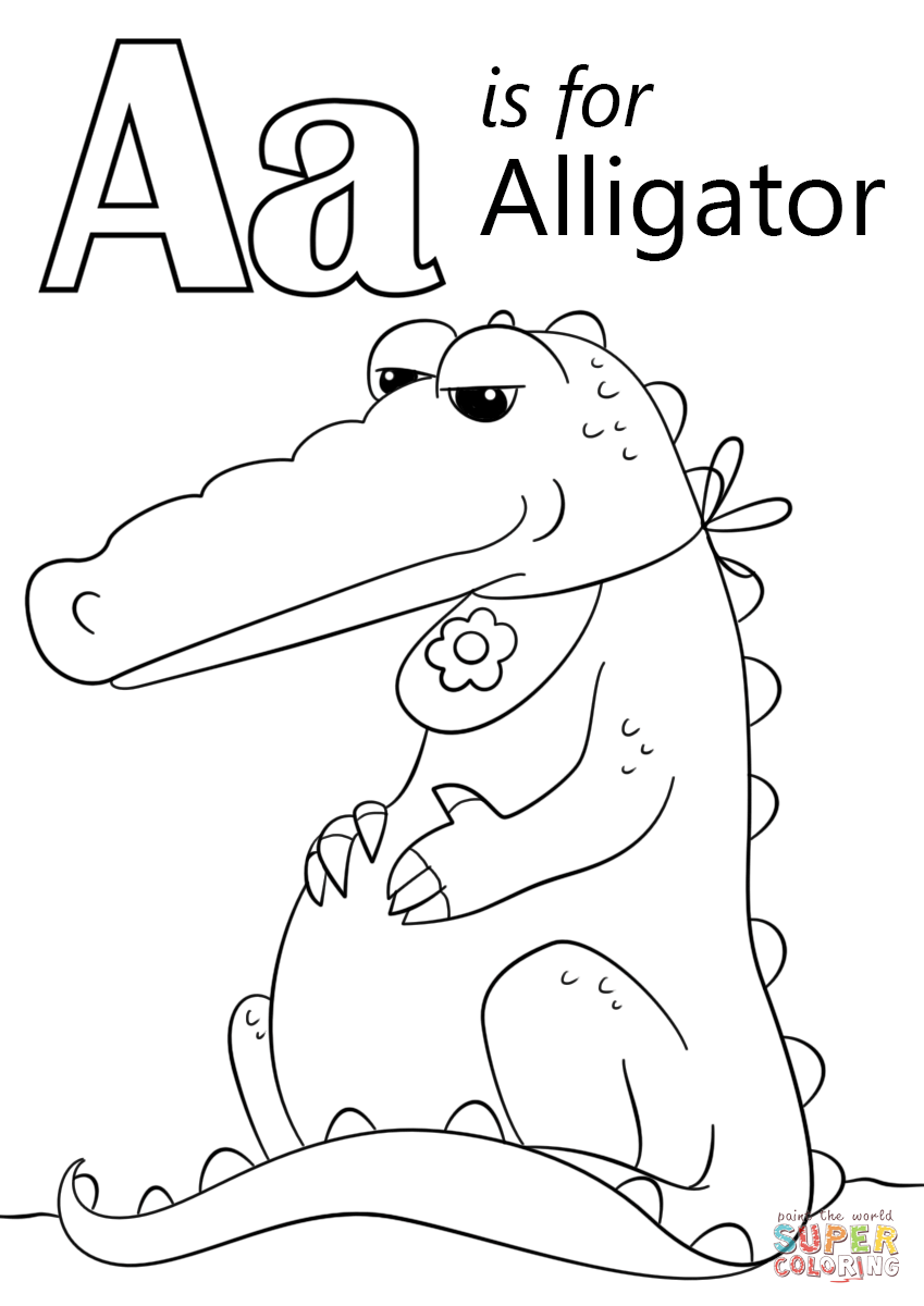 Letter A Alligator Coloring Pages