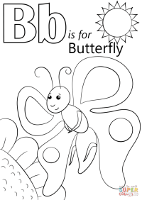 Letter B is for Butterfly coloring page | Free Printable ...