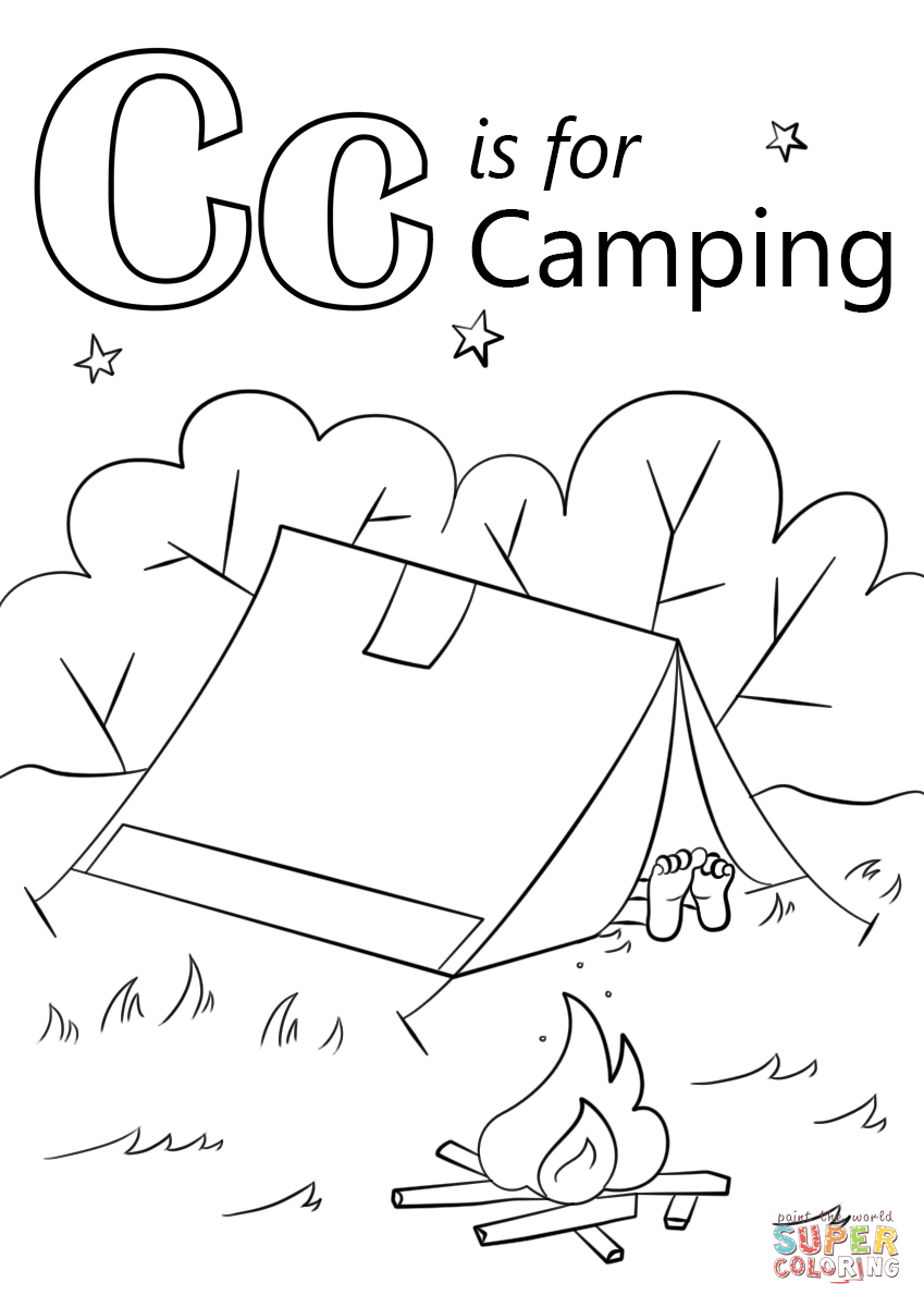 It is a picture of Delicate Coloring Pages Camping Theme