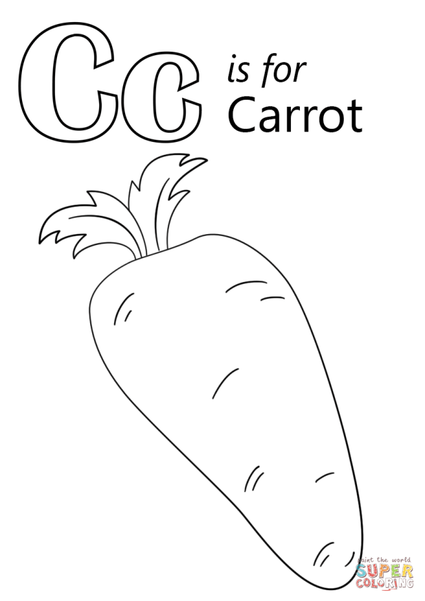 C Is For Carrot Coloring Pages | Carlazos.info