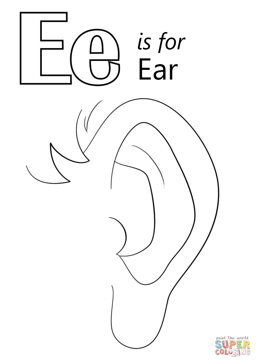 Letter E Is For Ear Coloring Page Free Printable Coloring Pages