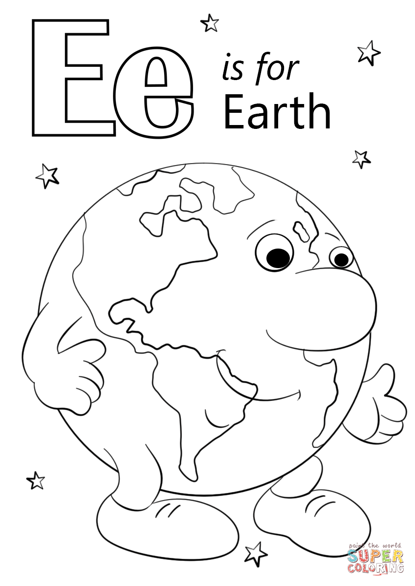 Letter E Is For Earth Coloring Page Free Printable Coloring Pages