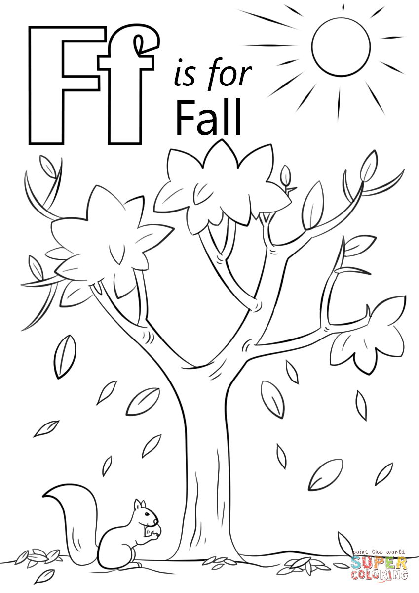 Letter F Is For Fall Coloring Page Free Printable Coloring Pages
