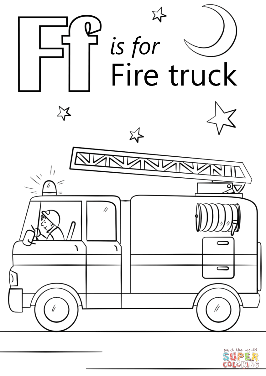 Letter F Is For Fire Truck Coloring Page Free Printable Coloring