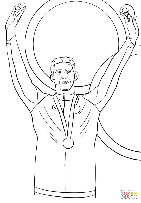 Michael Phelps Celebrates on the Podium with His Gold