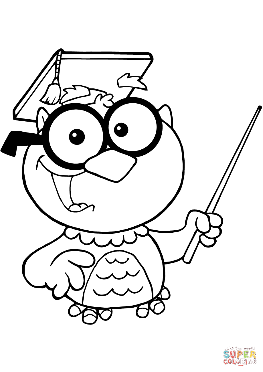Owl Teacher with Graduate Cap and Pointer coloring page