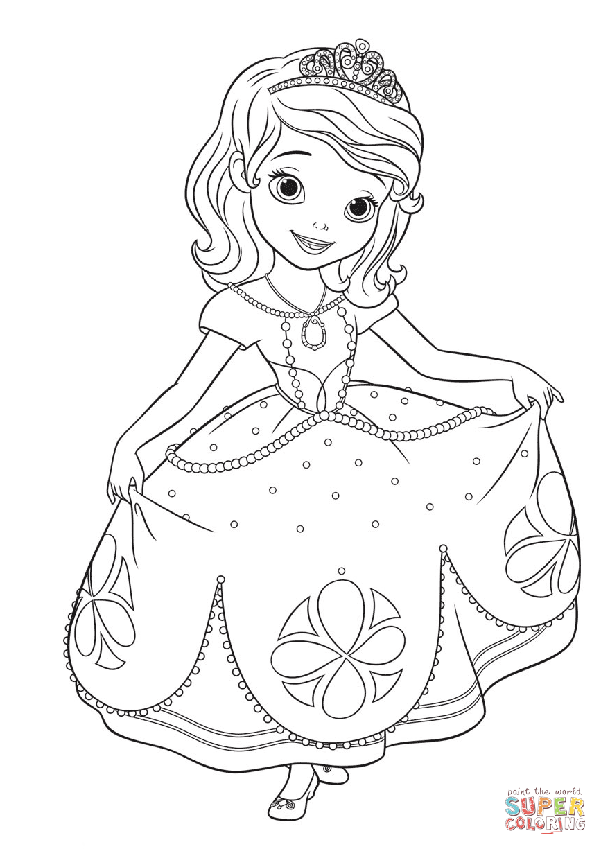 Princess Sofia Curtseying coloring page | Free Printable ... | princess sofia coloring pages