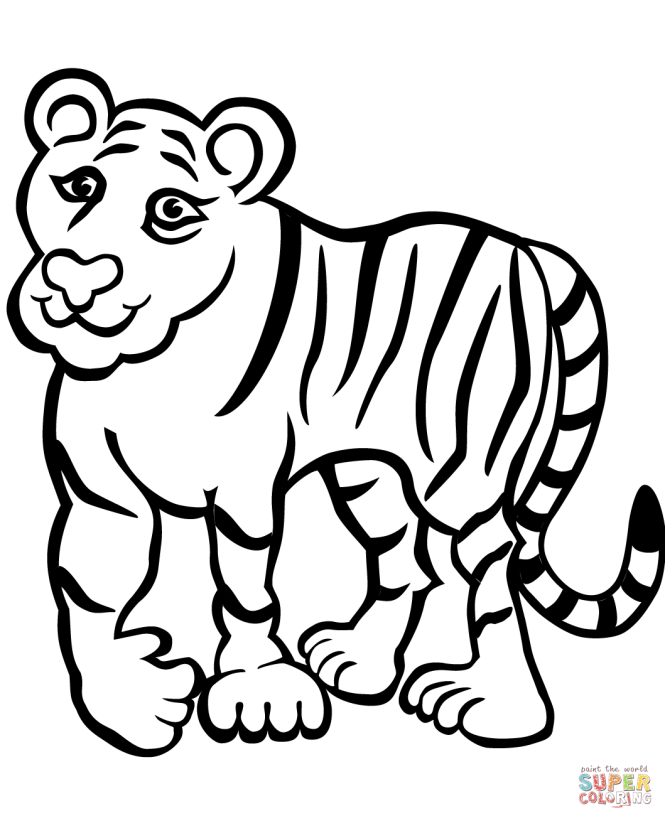 Click The Sad Tiger Coloring Pages