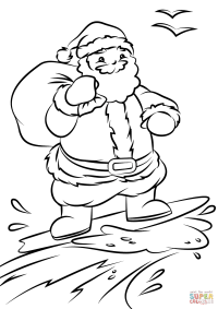 Santa Surfing coloring page | Free Printable Coloring Pages