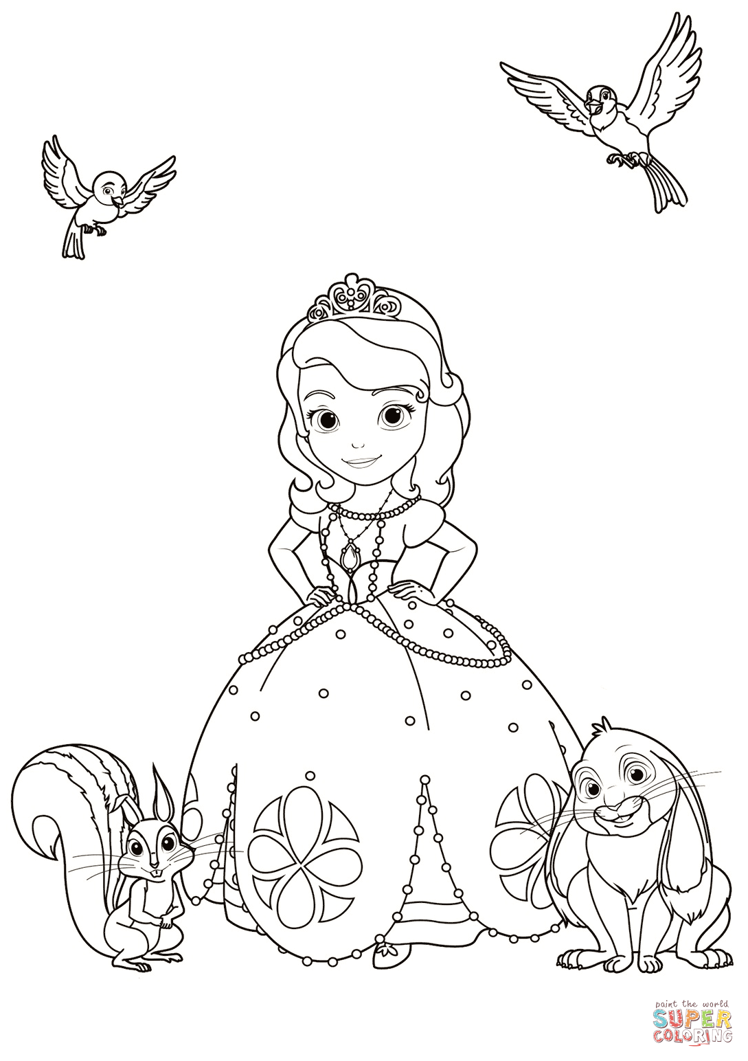 Sofia with Animals coloring page Free Printable Coloring