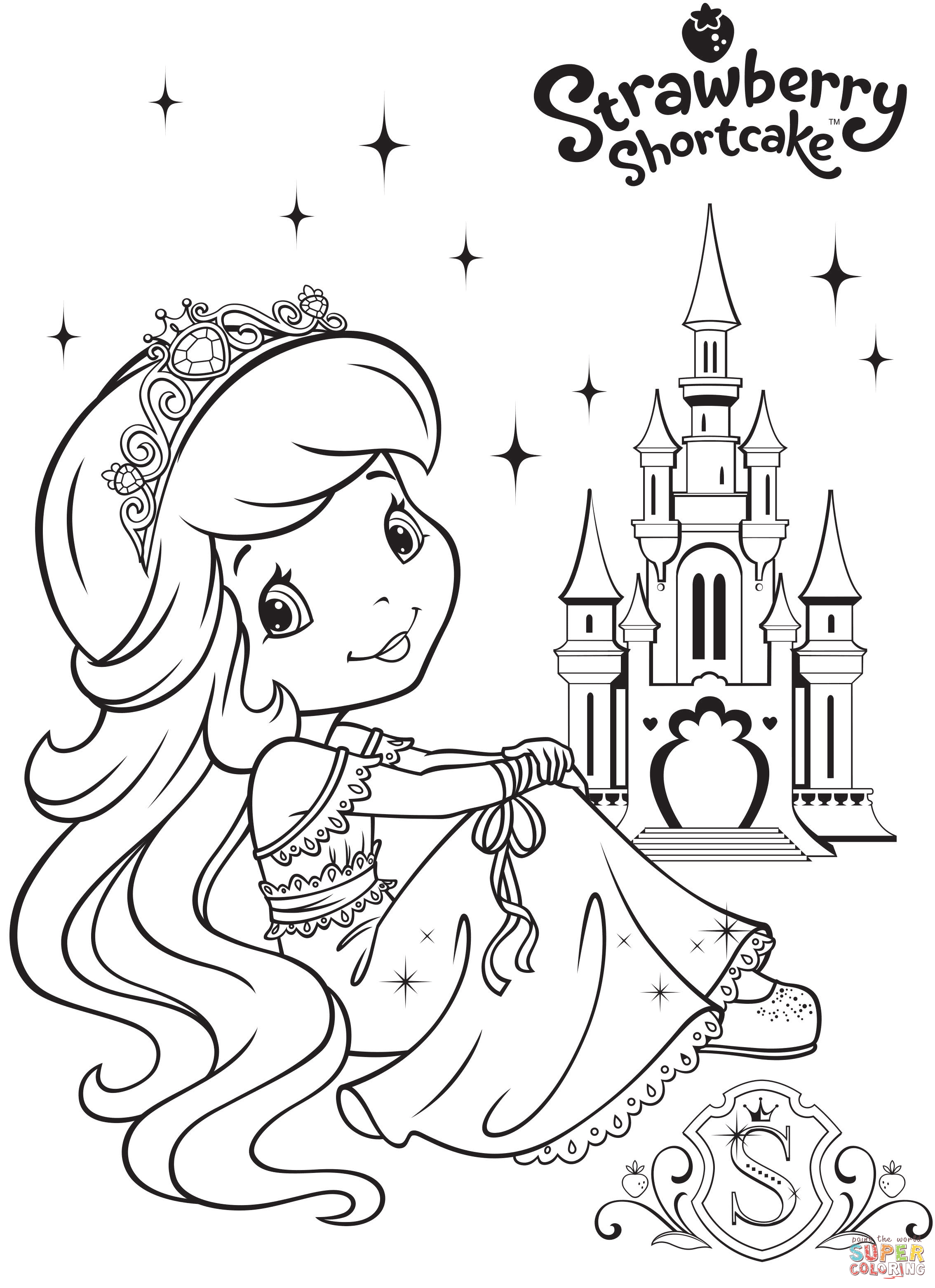 Strawberry Shortcake And Strawberry Castle Coloring Page