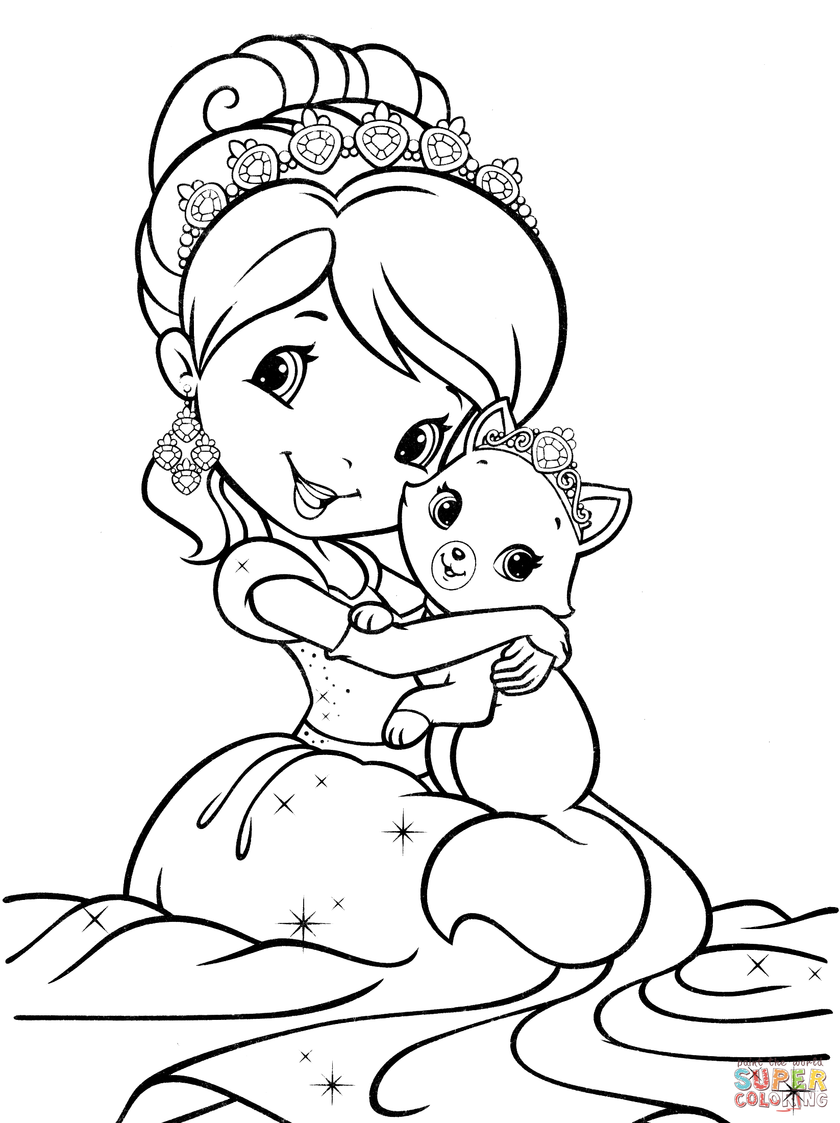 Strawberry Shortcake Mermaid Coloring Page Free Printable Coloring Pages