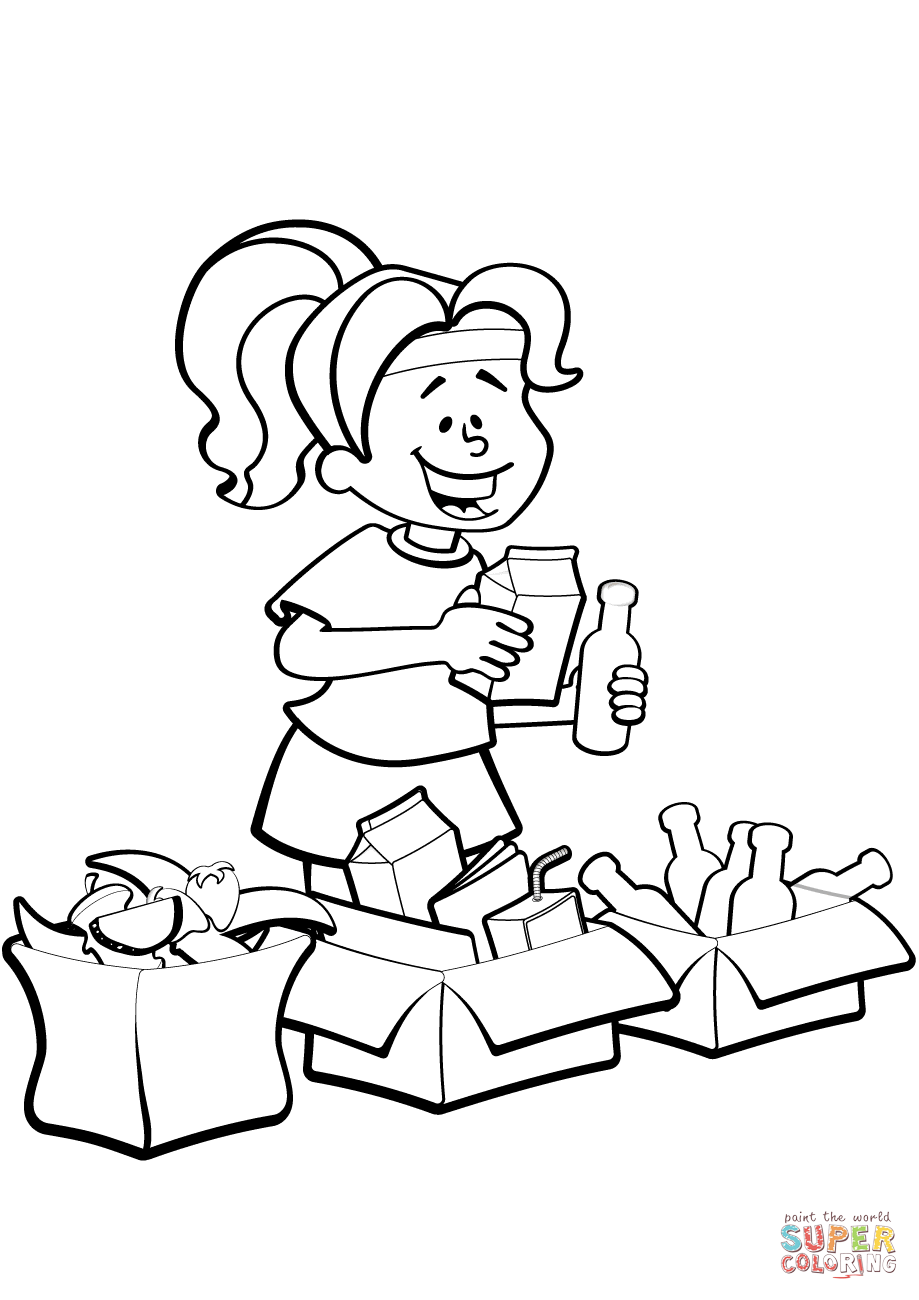 Recycling Coloring Pages Printable Sketch Coloring Page
