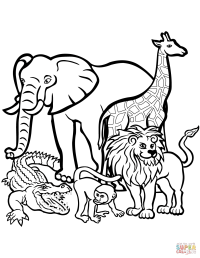 African Animals coloring page | Free Printable Coloring Pages