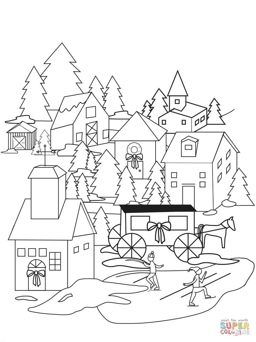 Christmas Village Coloring Page Free Printable Coloring Pages