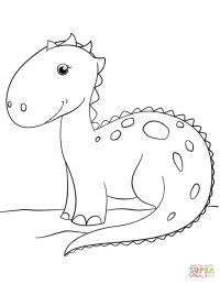 Cute Cartoon Dinosaur coloring page | Free Printable ...